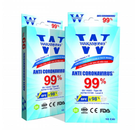 Khẩu Trang Y Tế Wakamono Diệt Virus Corona 99%